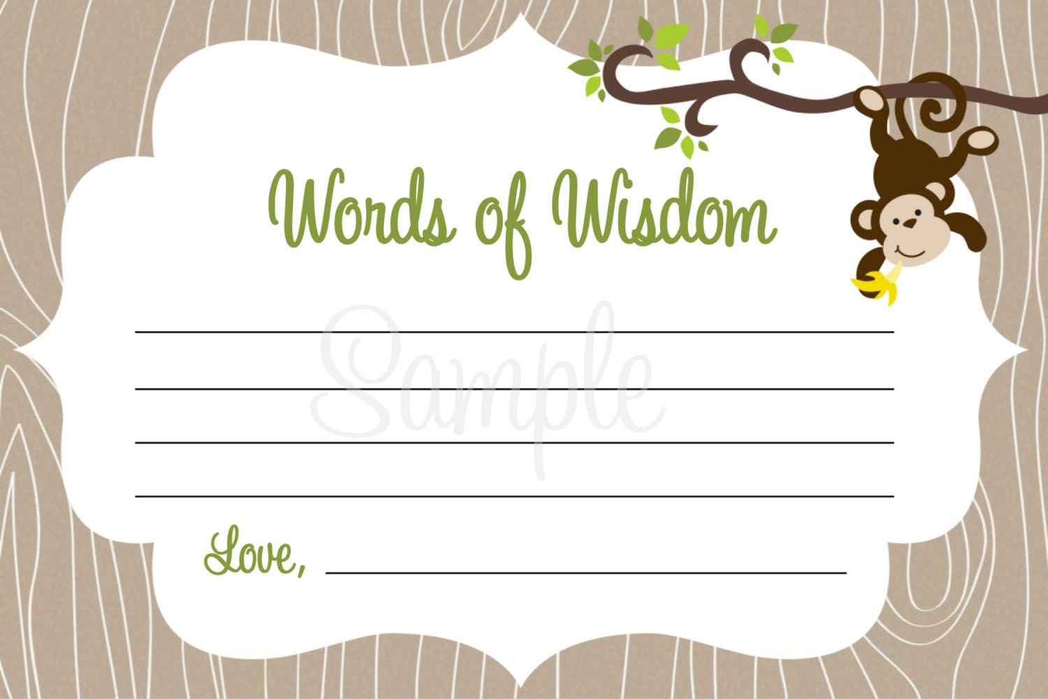 monkey baby shower words of wisdom note cards boy by