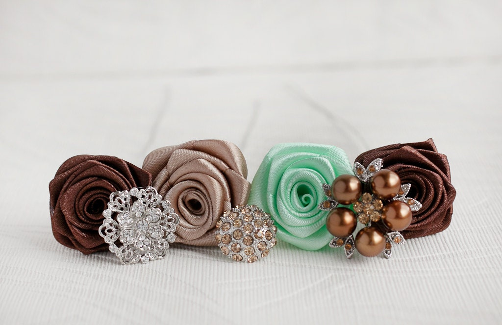 Brooch bouquet. Deposit on a Mint, Tan and Chocolate  wedding brooch bouquet, Jeweled Bouquet. - MagnoliaHandmade