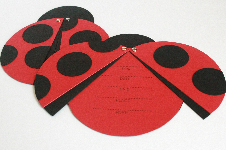 Handmade Ladybug Birthday Party Invitations Set of Ten
