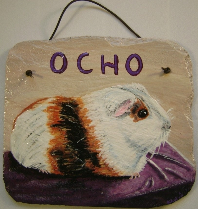 Guinea Pig-Personalized-Custom Painted Slate/MADE TO ORDER