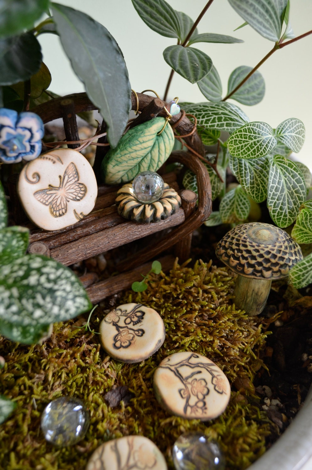 Miniature Fairy Garden Kit For Flower Pot Twig Bench By