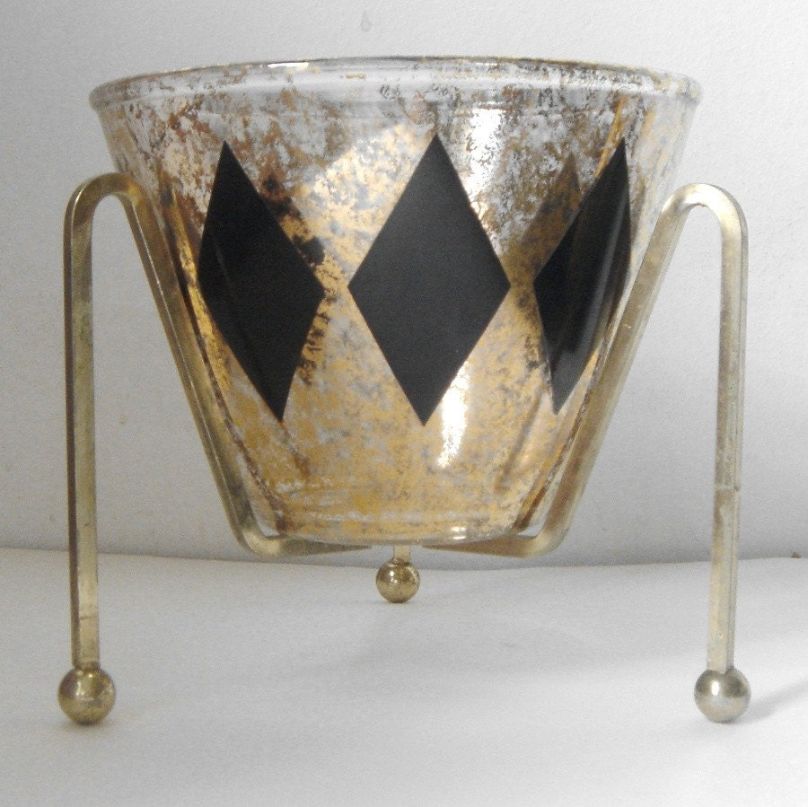 vintage Black and Gold Diamond Harlequin Serving Bowl / Ice Bucket with Tripod Stand
