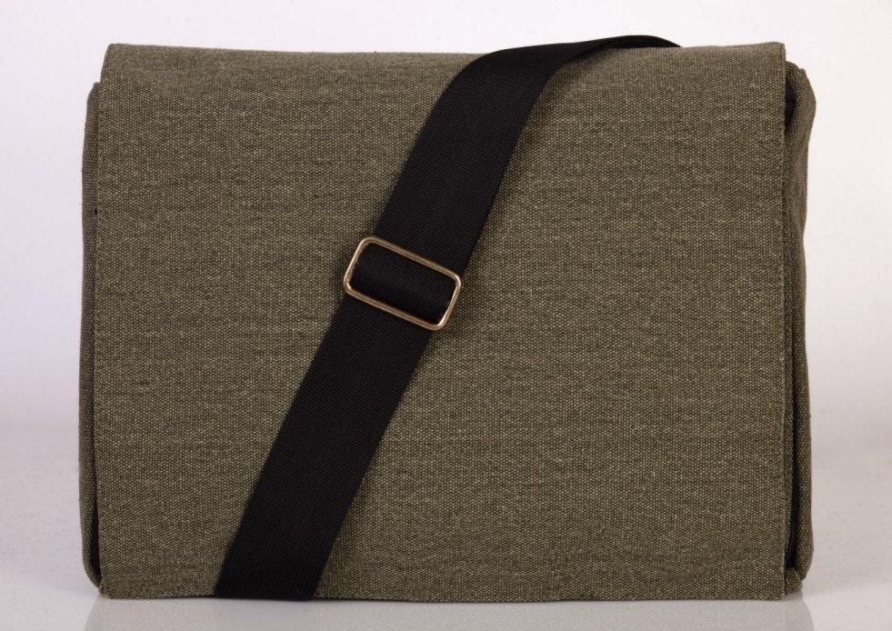 ON SALE 10% -Mula - Light Green Canvas Messenger Bag - Adjustable Strap