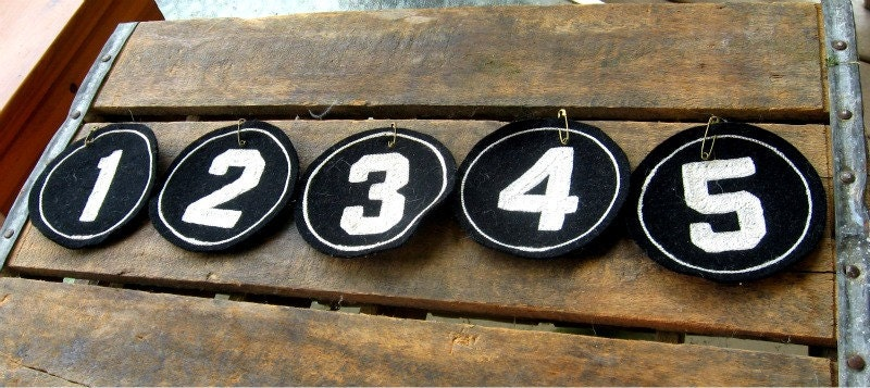 Vintage Numbers Stitched on Wool Circle