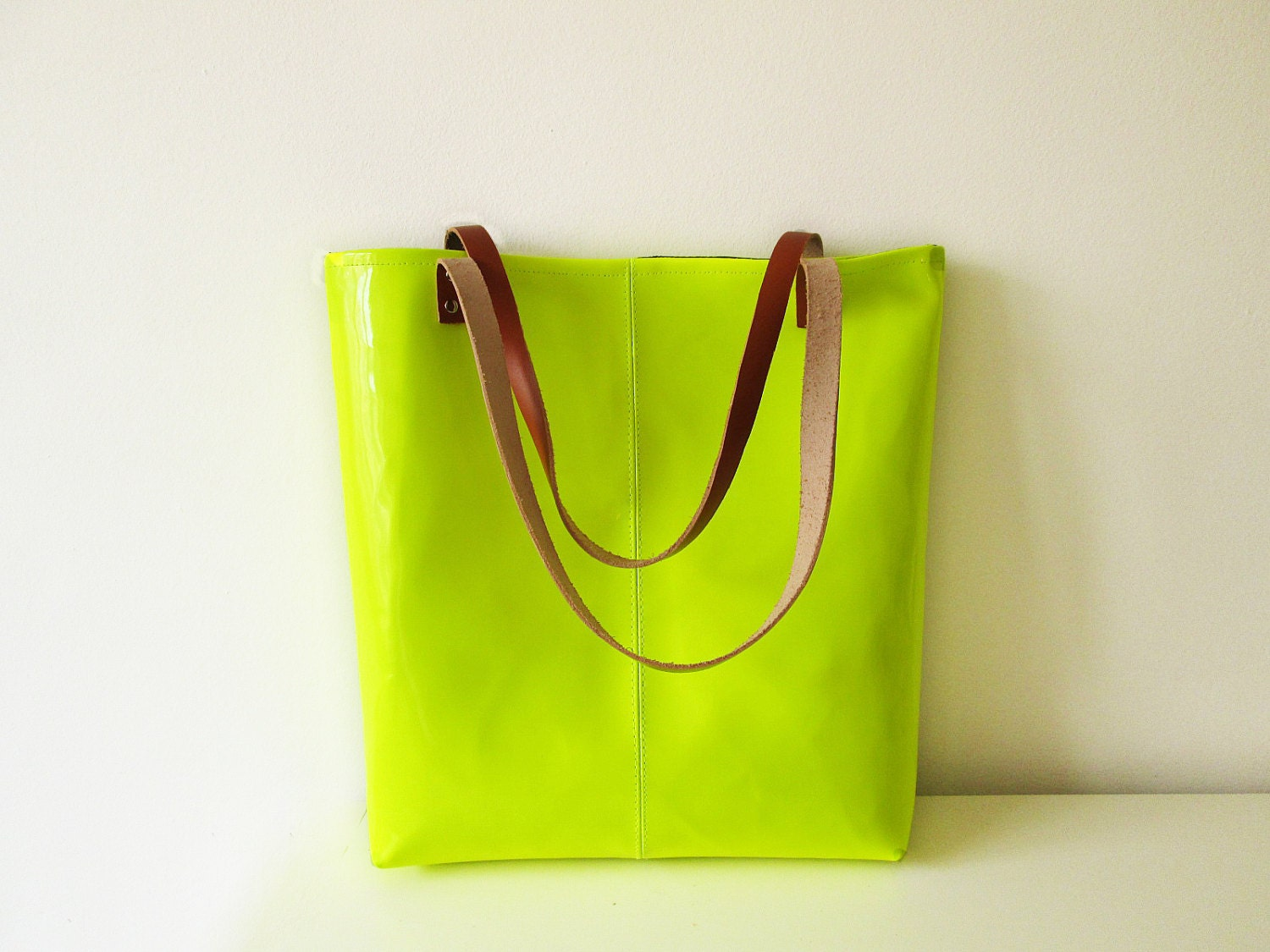 Neon Tote bag, Vegan Leather Tote, Lime, Fluorescent Yellow, Patent - byMART