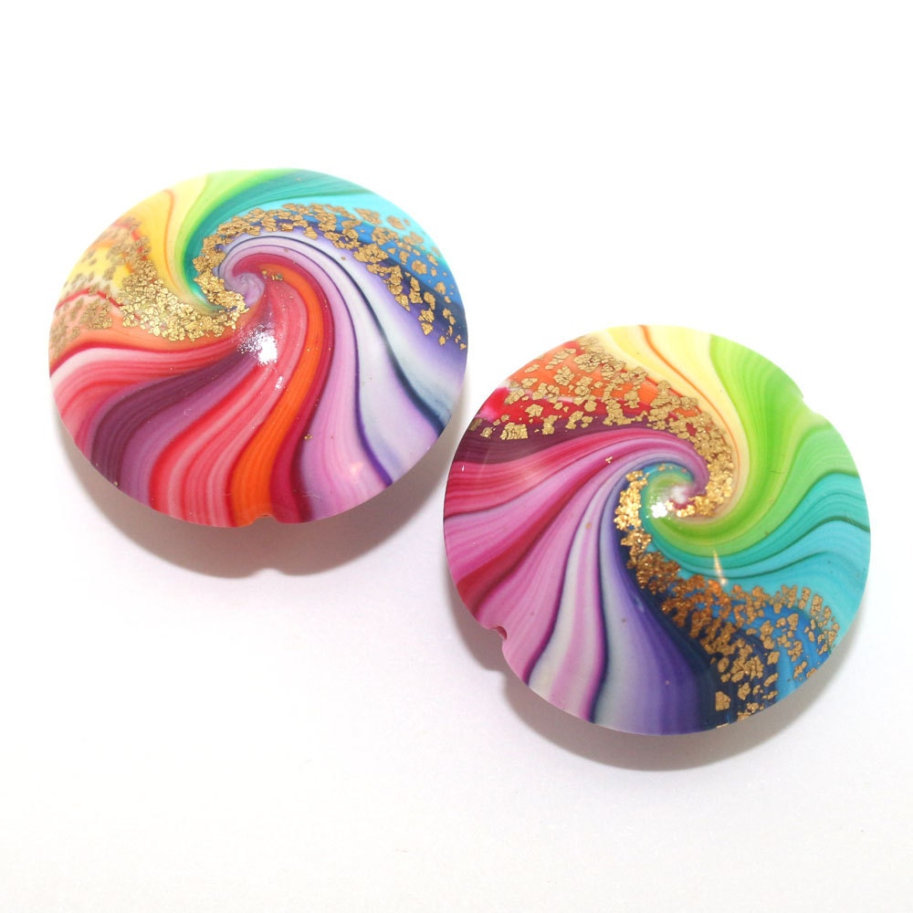 Polymer Clay beads in rainbow colors, unique pattern, colorful swirl lentil beads with touches of gold, set of 2 Elegant beads - ShuliDesigns