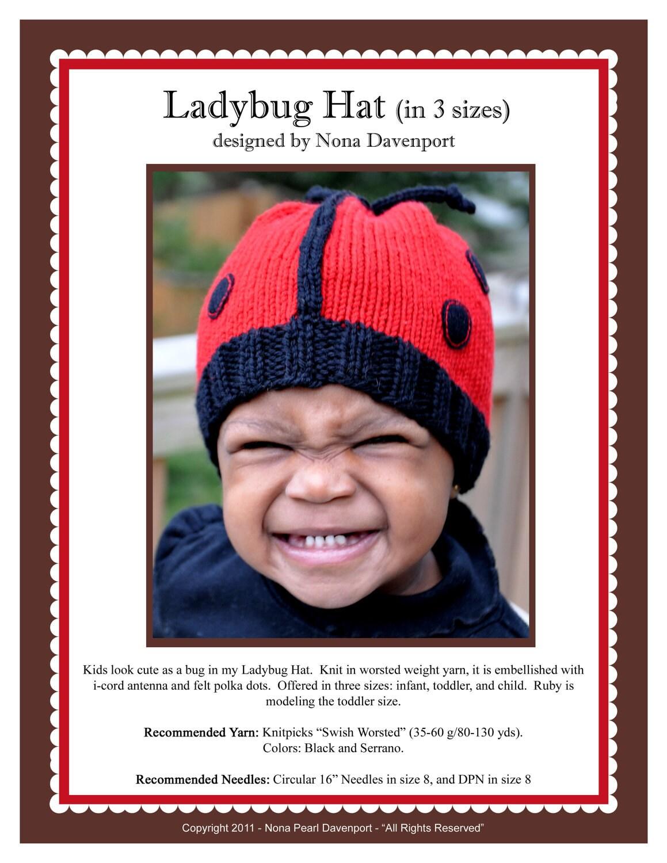 Ladybug Hat (in 3 sizes) Pattern PDF