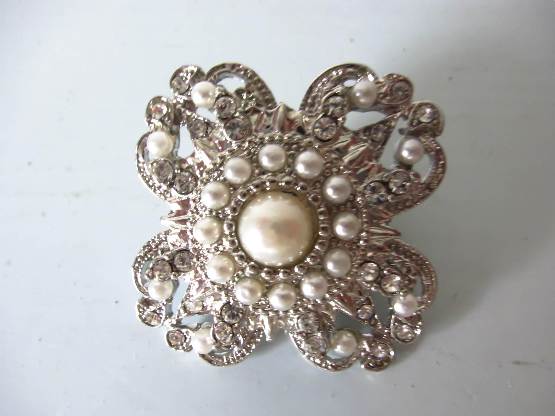 Vintage brooch rhinestone and faux pearl brooch flower shaped brooch clear paste brooch magnetic brooch