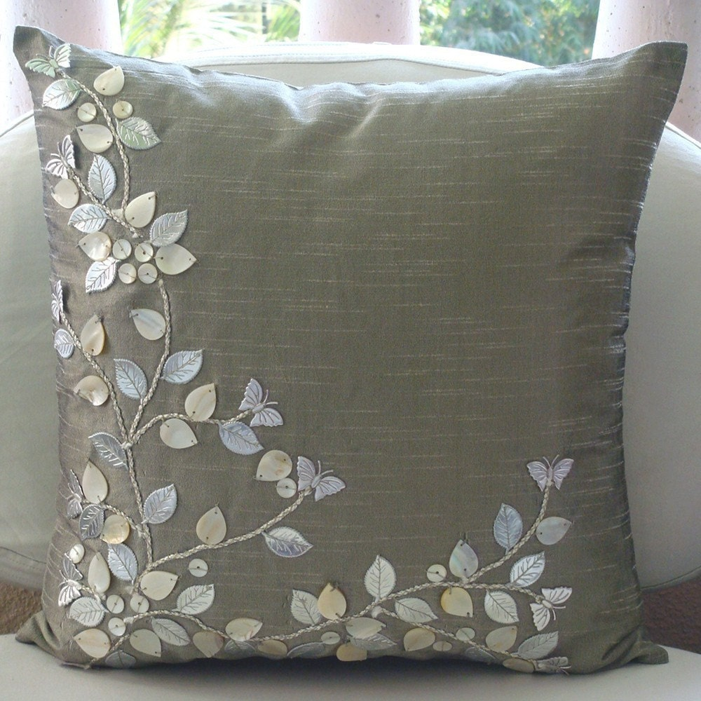 Silver Beauty Throw Pillow Covers 16x16 Inches By