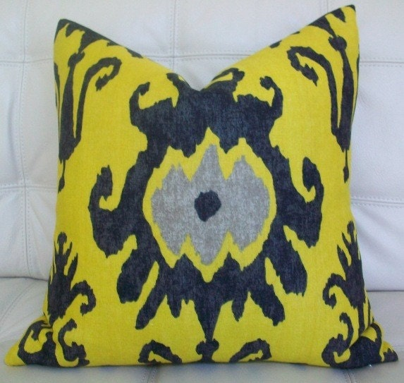 NEW Decorative Designer  Pillow Cover - 18X18 - Vervain - IKAT print in black, grey and mustard