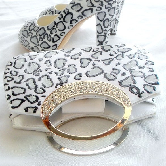Bridal Clutch leopard print and swarovsky crystals