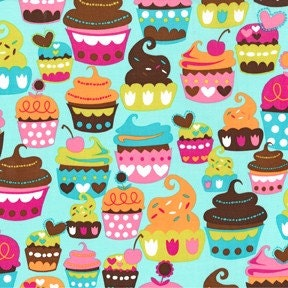 Sweet Treats in Turquoise by Michael Miller 1 Yard
