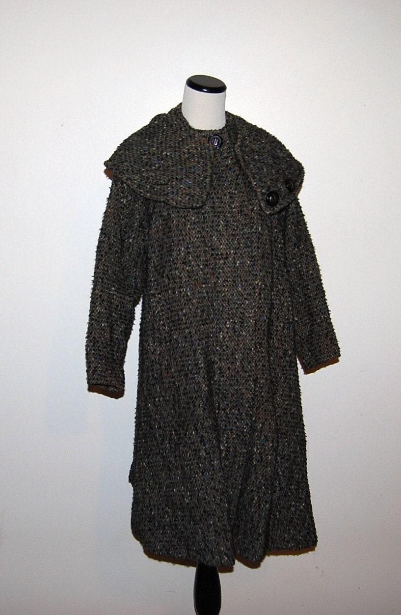 Vintage Coat 50s Swinging Wool Tweed