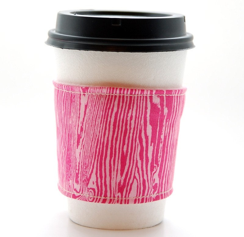 Pink Faux Bois Coffee Sleeve