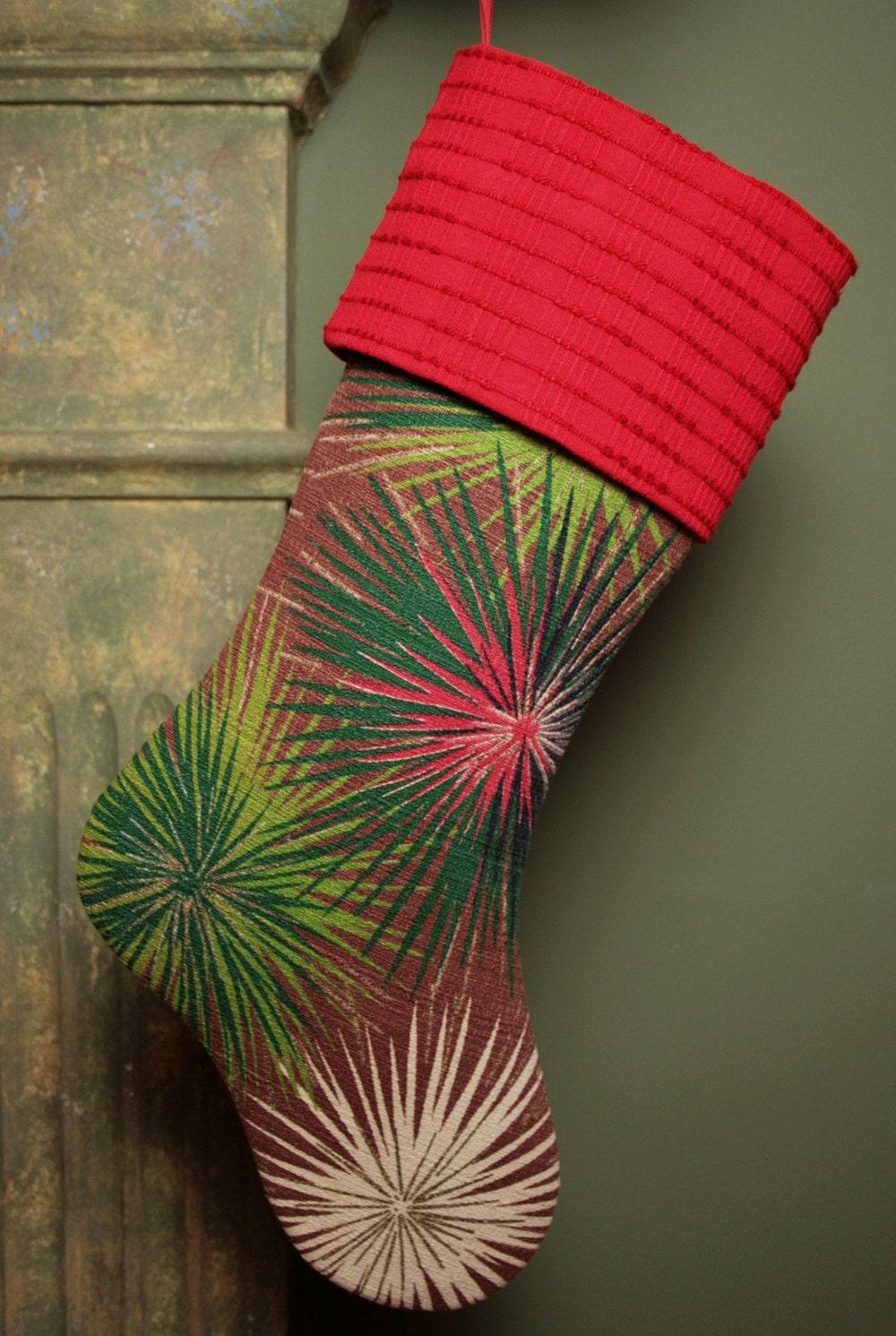 Starburst Дизайн Середина века современный Эймс Vintage Barkcloth Рождества чулок с Vintage манжеты синель