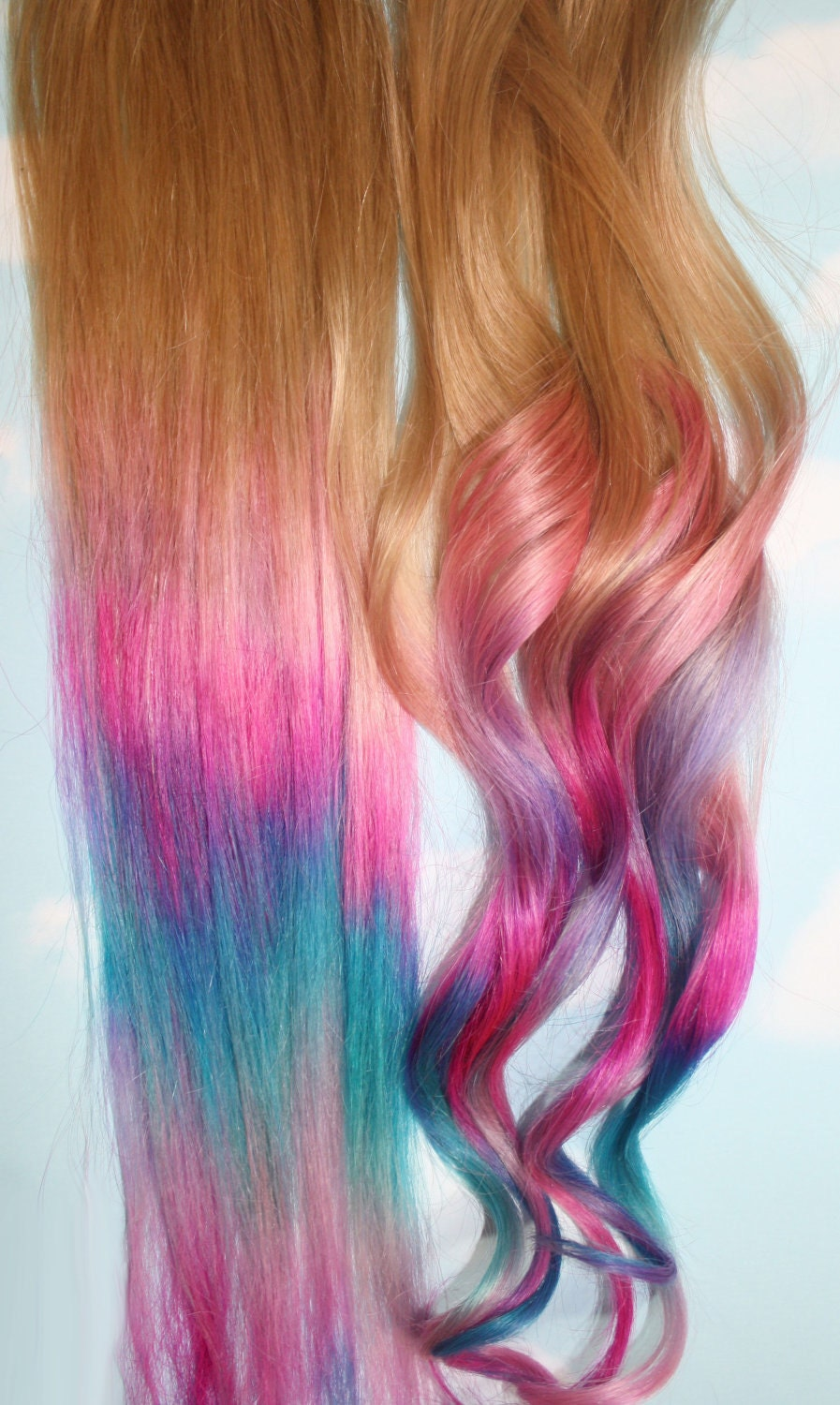 handmade ombre pastel tie dye tips human hair by cloud9jewels. Black Bedroom Furniture Sets. Home Design Ideas