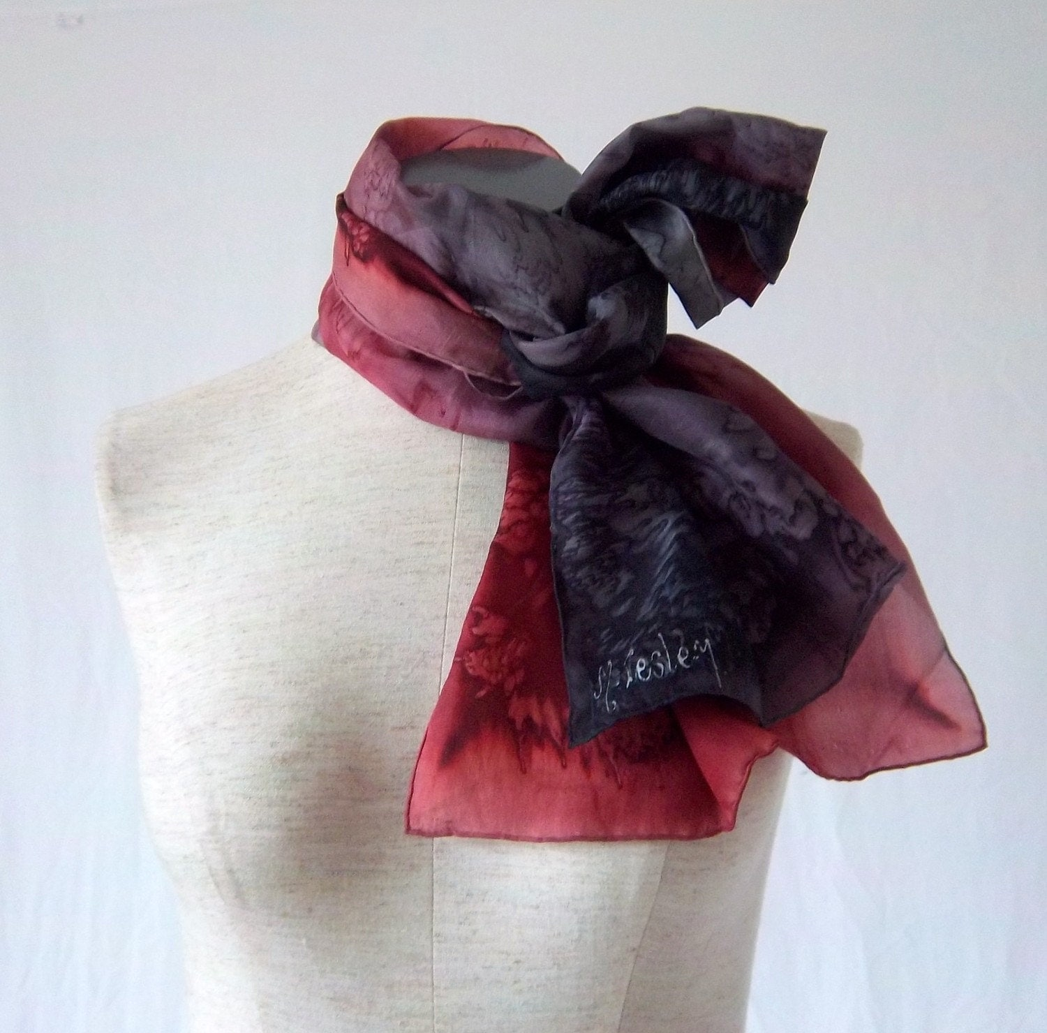 "Handmade 1980s Drip Dyed Wine Purple Charcoal Gray Sheer Silk Scarf 62"" Rectangle signed M. Lesley"