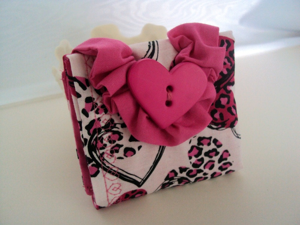Tea Bag Wallet - Wild Hearts - Pink and Black