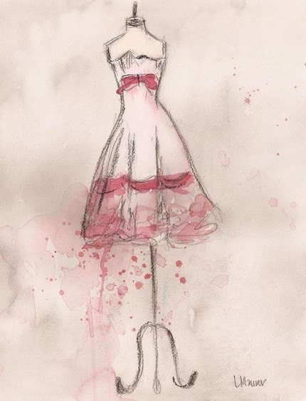 Print - Watercolor and Charcoal Painting - White and Pink Party Dress - 10x13