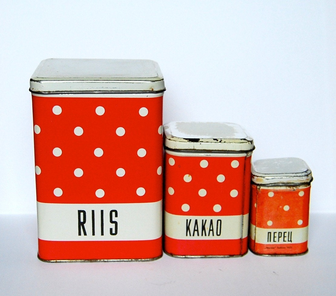A set of 3 beautiful rustic polka dot vintage tin boxes for food storage from Estonia