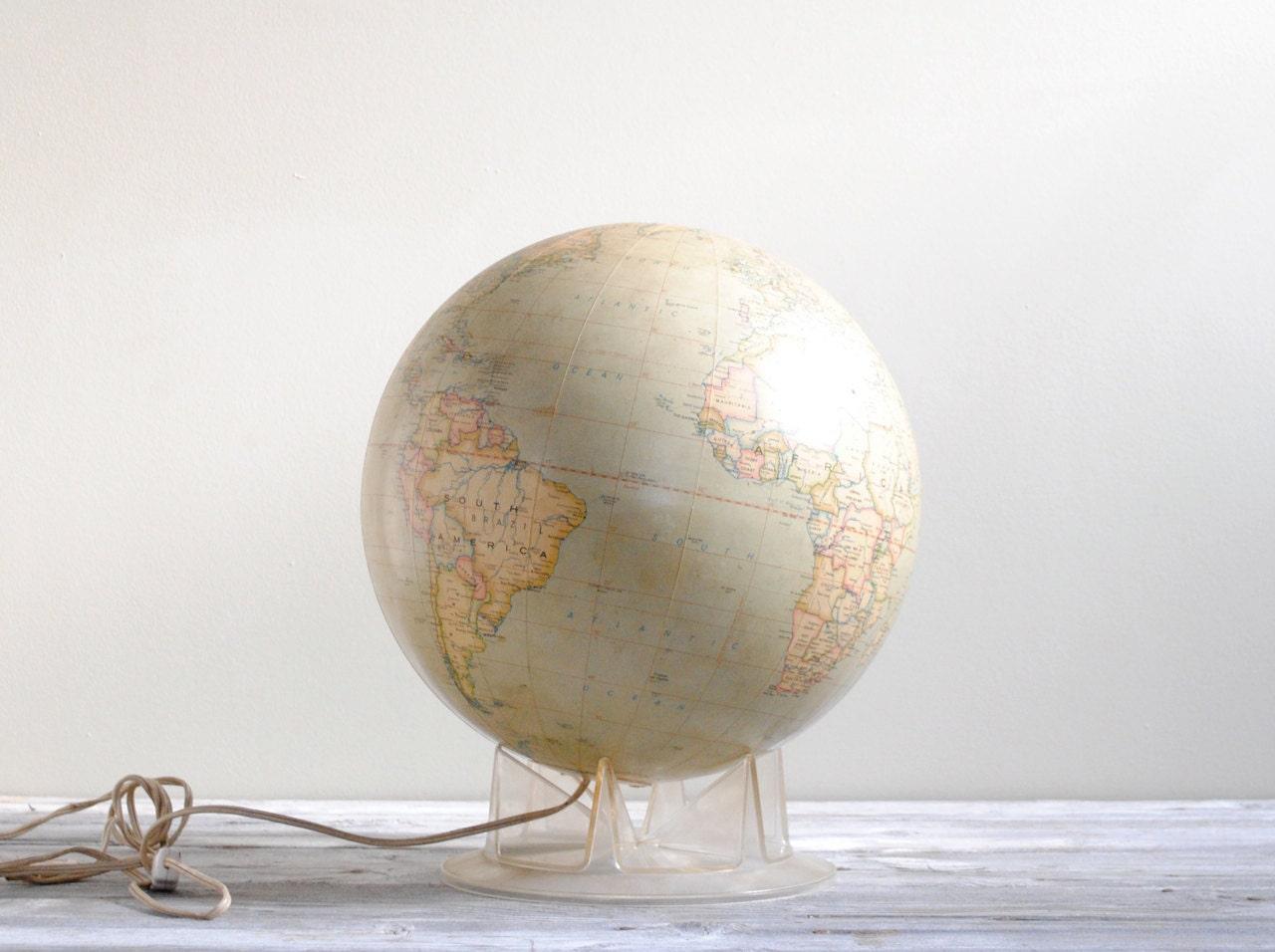 """Vintage 12"""" Light Up Globe - LittleDogVintage"""