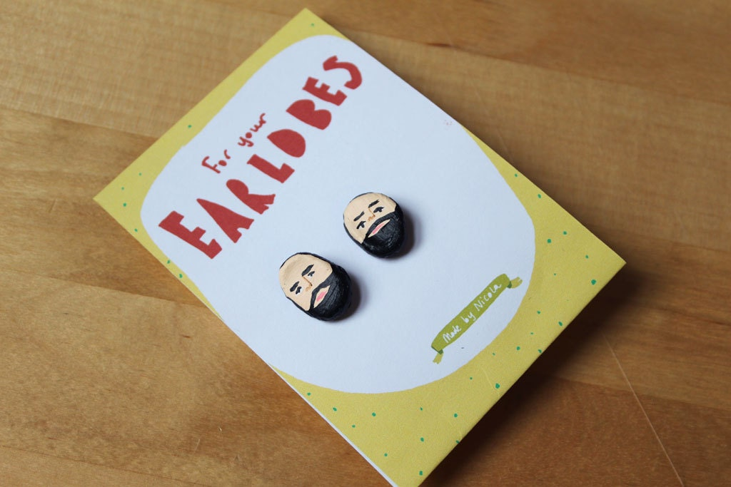 Earrings: Mini bearded men
