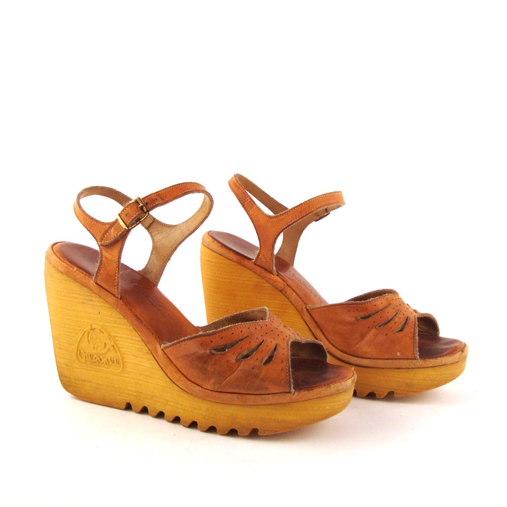 wedge sandals vintage 1970s shoes by