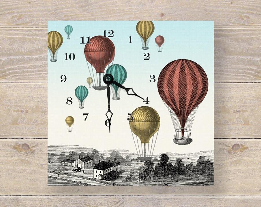 Hot Air Balloon Art Clock - Unique Wall Clock & Desk Clock - Nursery Art - Kids Wall Art - DoubleTroubleDesign