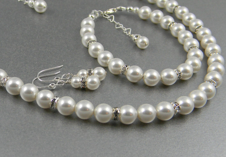 Flower girl Pearl Jewelry Set Bridal Jewelry Necklace bracelet , ear wires or 6mm post earrings, Swarovski pearls rhinestone First pearls