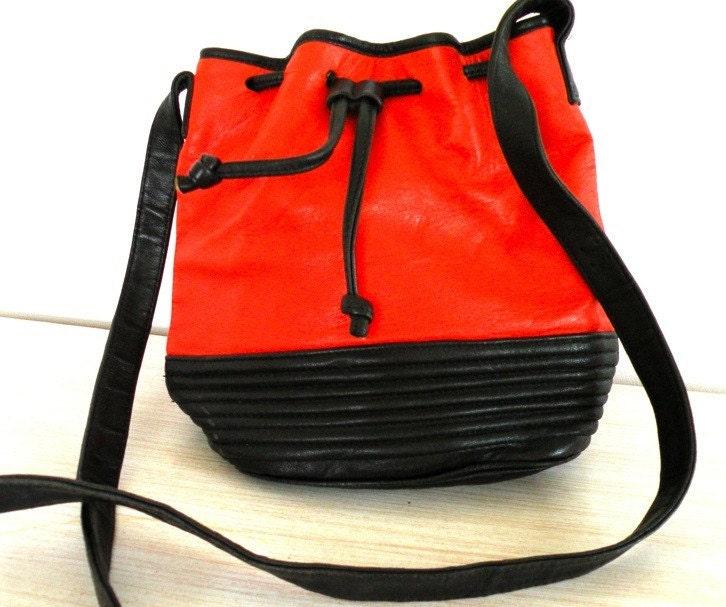 PERSIMMON Vintage ADRIENNE VITTADINI Drawstring Bag