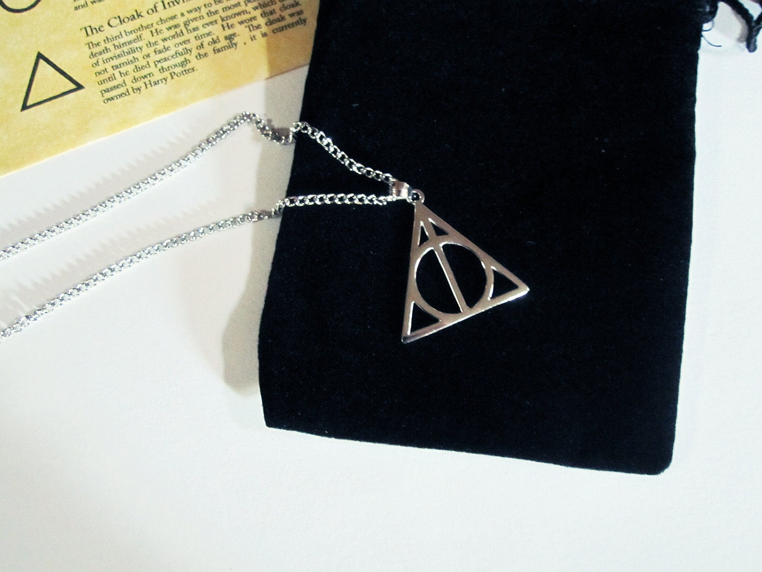 blue Amazonharry potter cursed and Deathlyhallowssymbolnecklaceuk