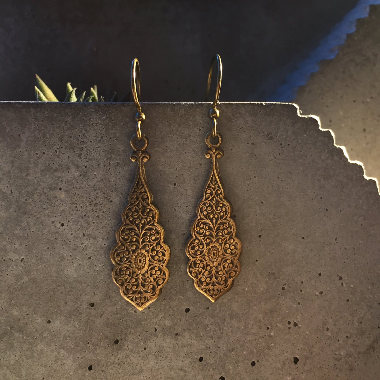 Vintage Ornate Antique Brass Earrings ethnic earrings tribal earrings antique earrings vintage earrings indian earrings boho earrings