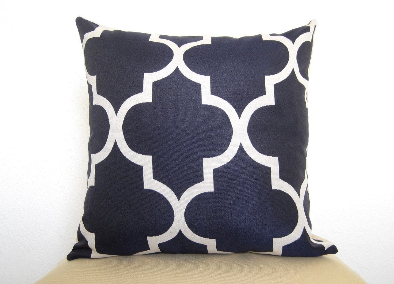 Pair of 2 Lattice Work Designer Pillows / 18 inch / Navy Blue / Zipper Enclosure