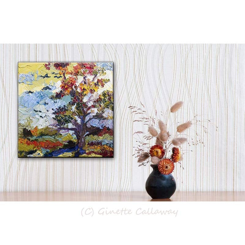 Impressionist Autumn Fire Tree 12 by 12  Original Oil Painting Palette Knife by Ginette