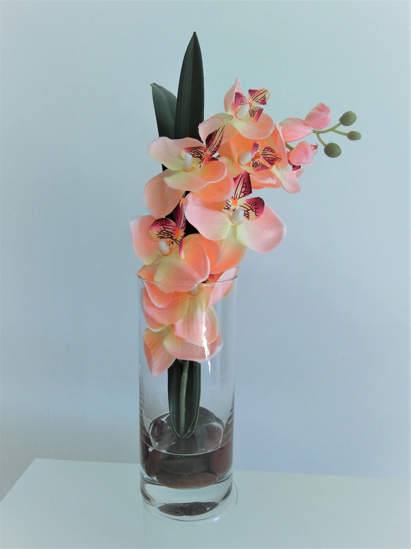 Artificial Silk Fowers Arrangement  Faux Silk Orchid in Glass Vase