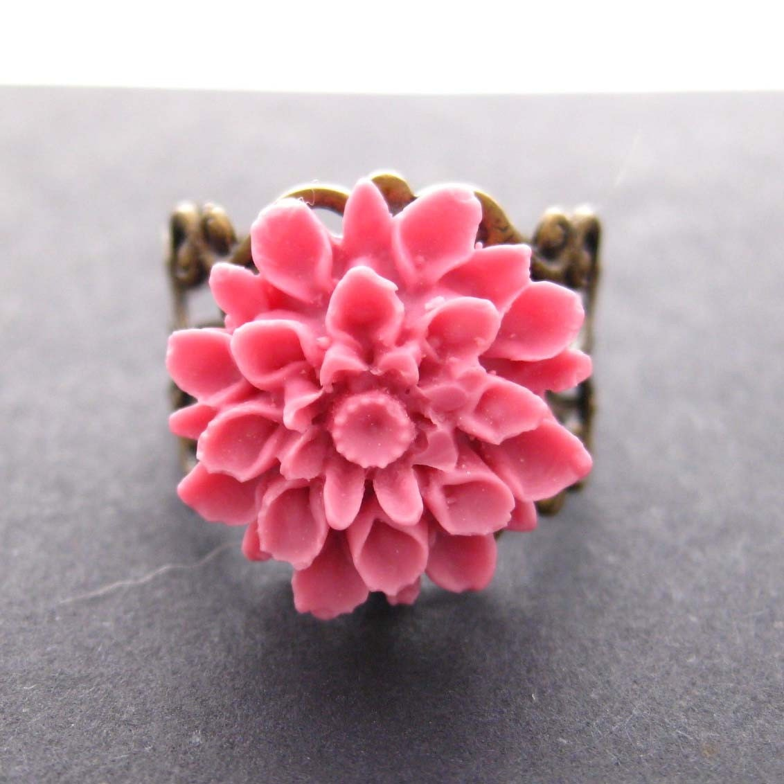 Handmade Bouquet ring with pink flower