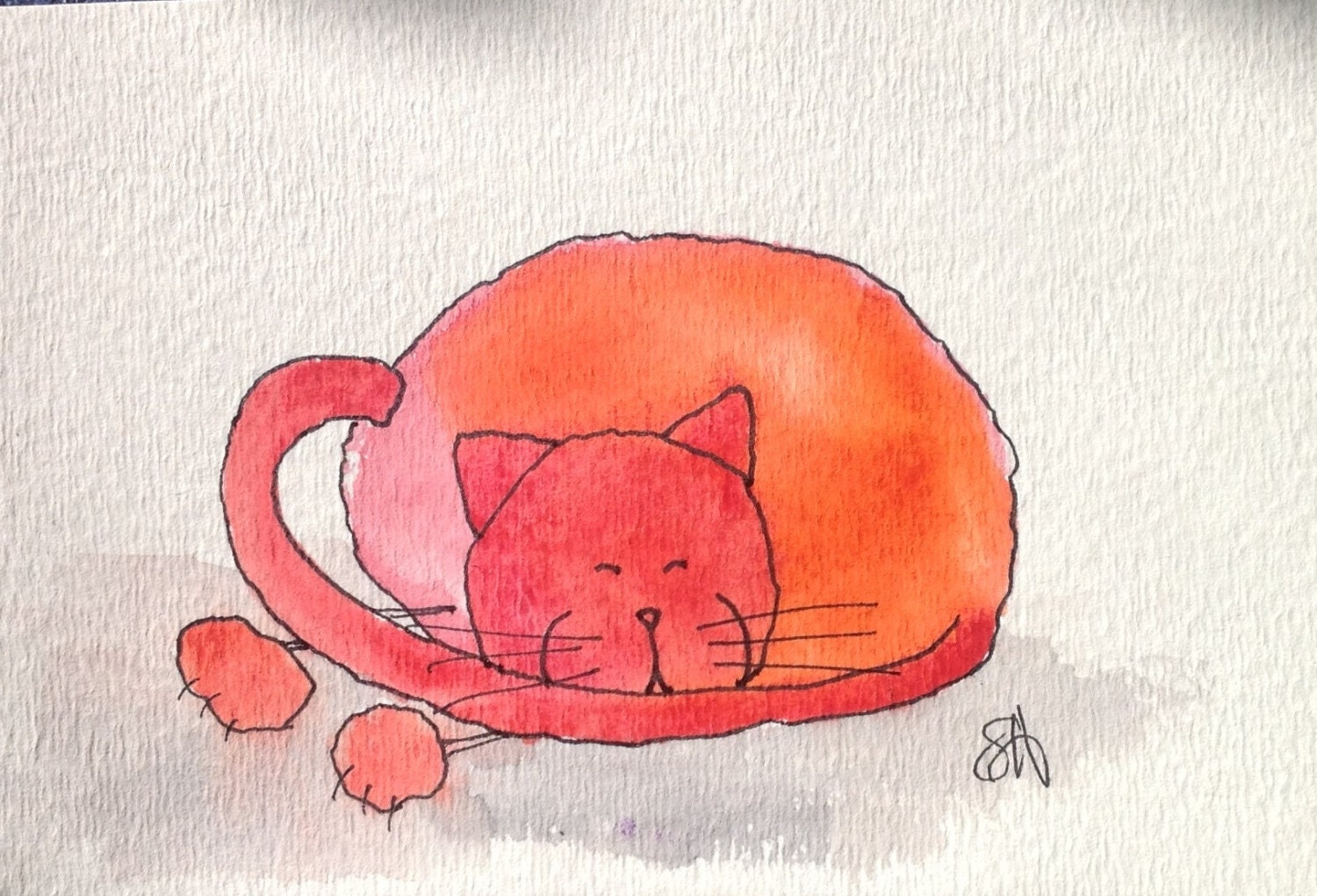 "Red cats--MULTI-LISTING--watercolour on paper--4x6""--home decor - OTTDesigns"