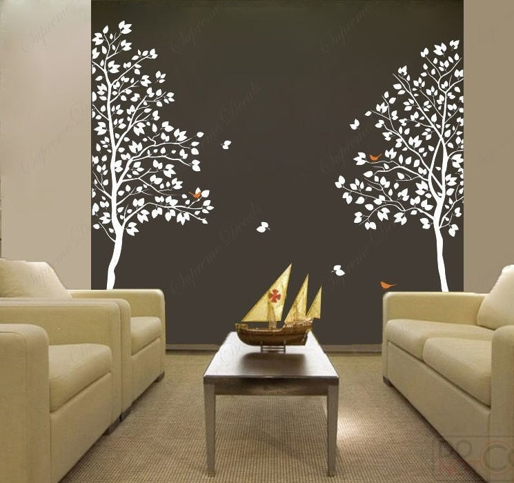 White Twin Tree83inch tall Vinyl Wall art decals eBay