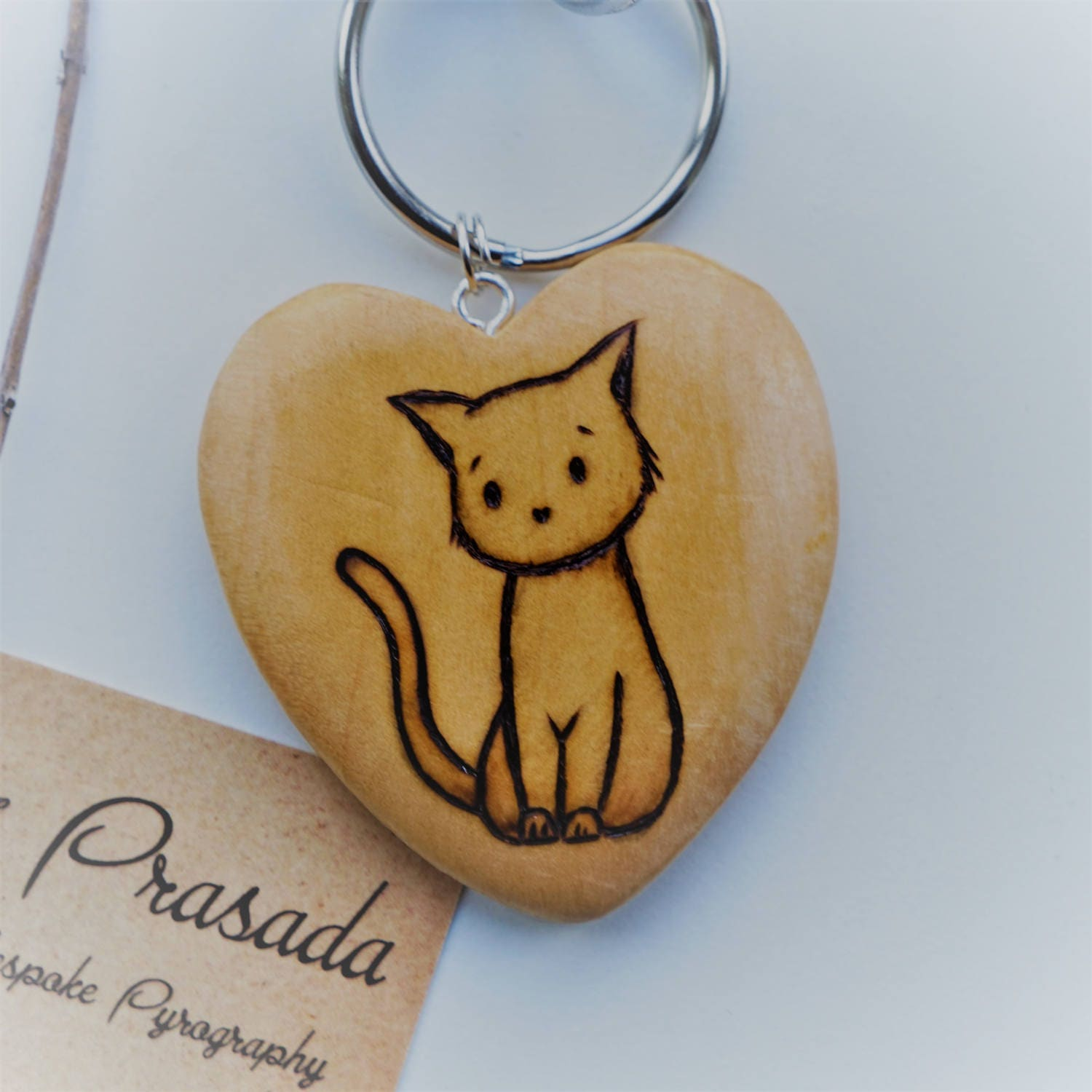 Cute Cat Keyring personalised keyring cat lovers gift cute cat gift crazy cat lady pet name cat key fob pyrography keyring cat art