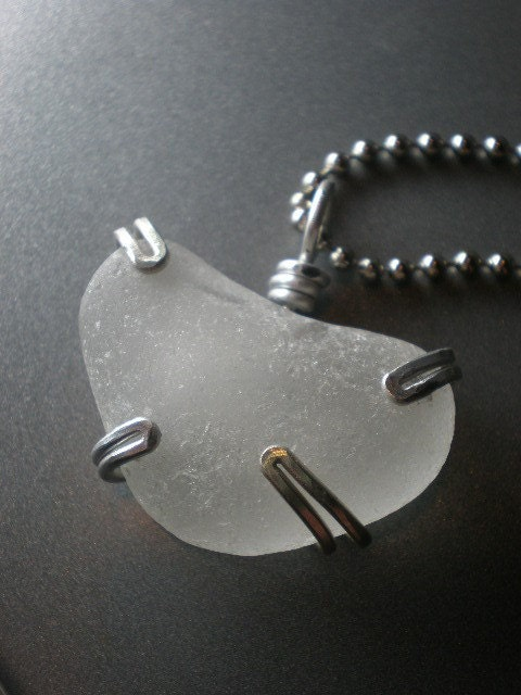 Sea Glass Jewelry - Captured Heart Necklace