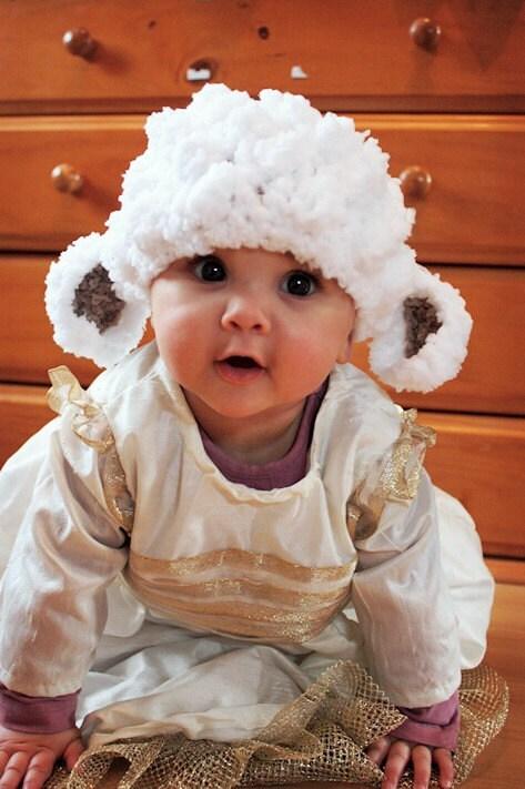 Preemie Newborn Little Lamb Sheep Farm Animal Beanie - Crochet White Brown Bobble Preemie Baby Hat Infant Photo Prop