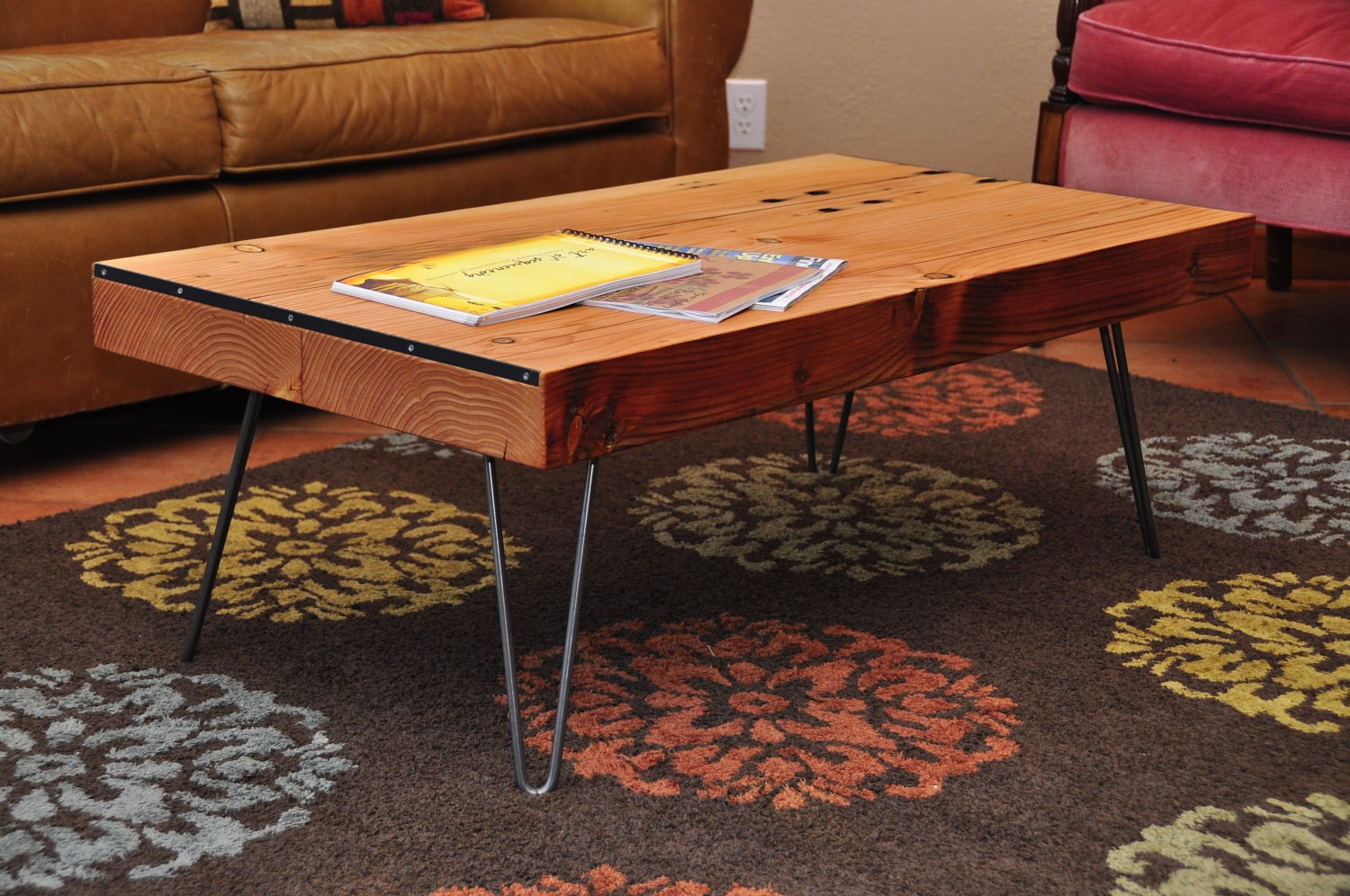 Reclaimed Wood Coffee Table With Hairpin Legs By Zacklodato