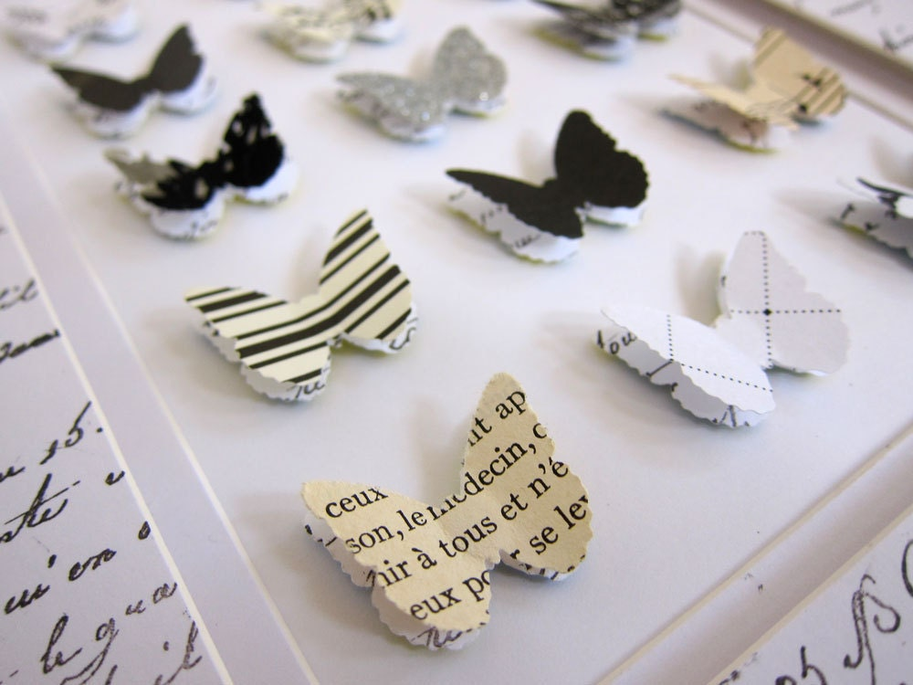 French Shabby Chic Black and White Paper Butterfly Collection Home Decor Cottage Chic - ShopOnALark