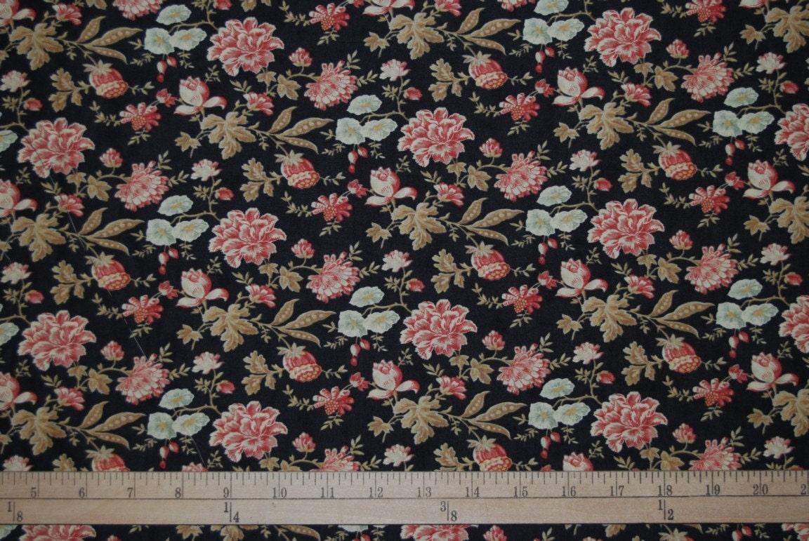 LUNA NOTTE black floral quilter cotton by vintageinspiration