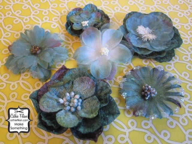 Тил Голубой цветок бархата и шелка Украшения - набор из шести цветов изменены - Дамских, Измененные Couture, волос Цветы