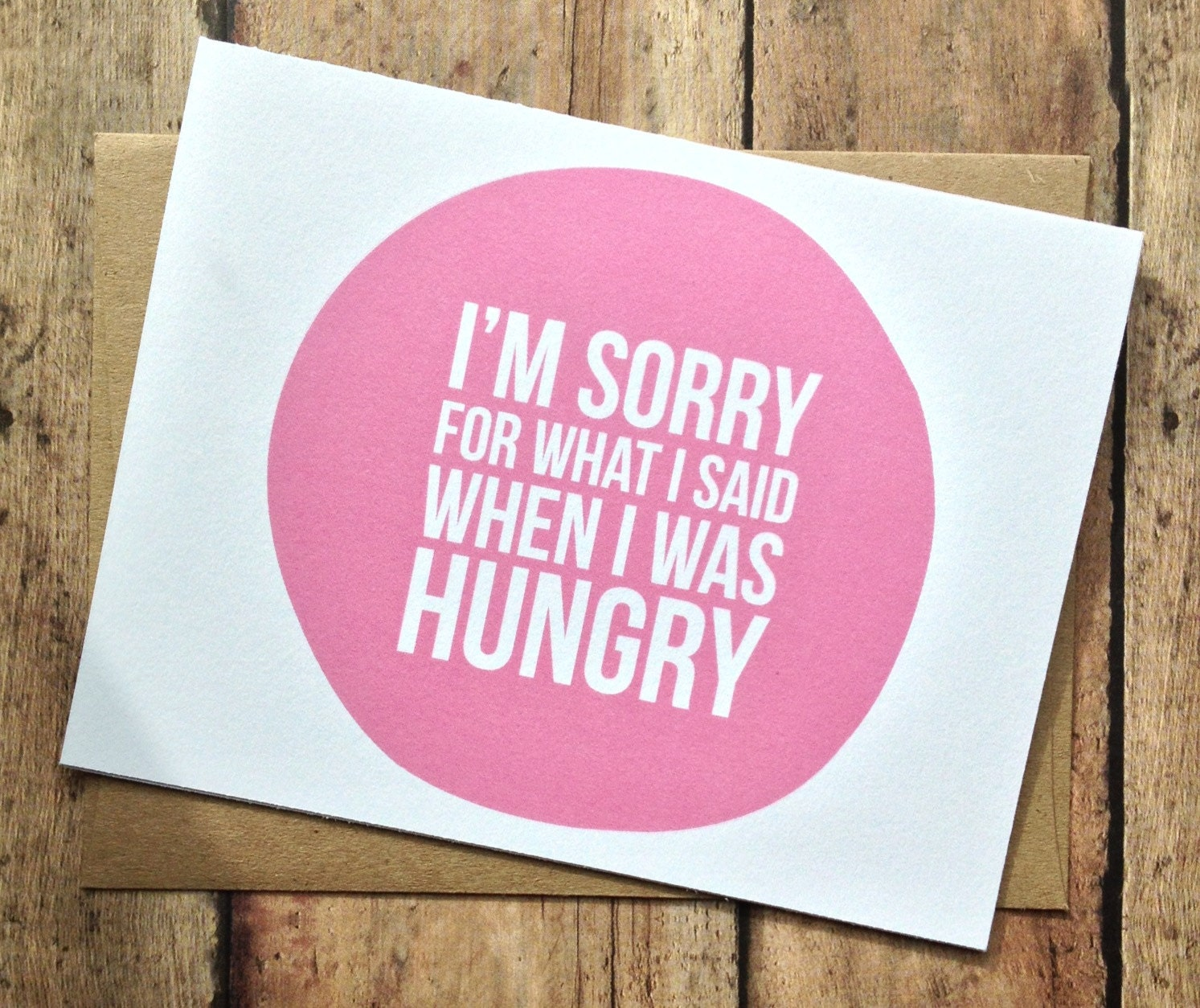 I'm sorry card - humorous card - funny I'm sorry card blank card - with kraft brown envelope