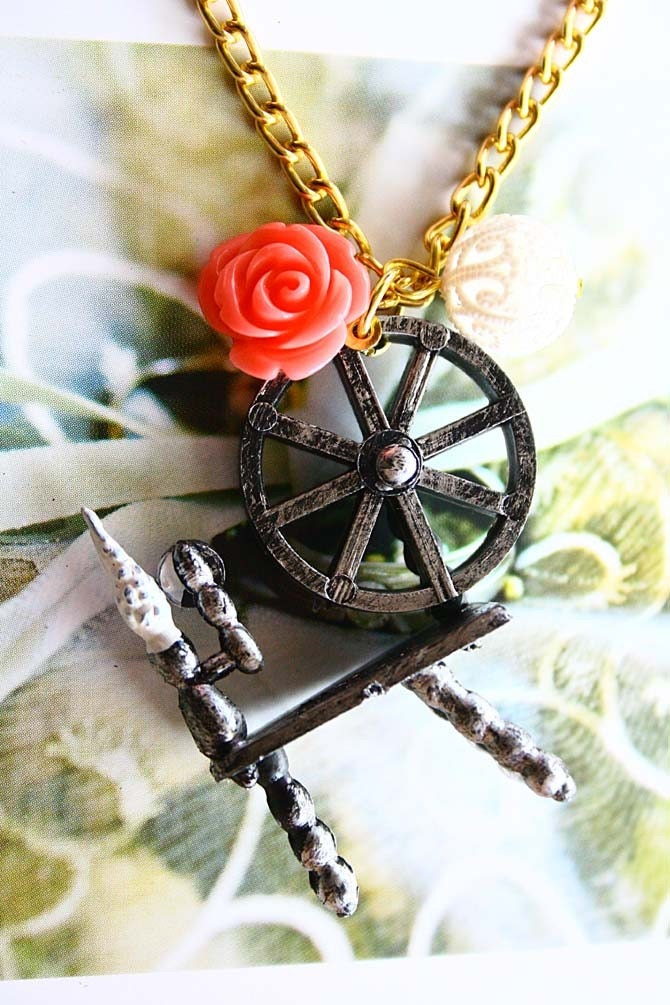 Sleeping Beauty Aurora Spinning Wheels necklace