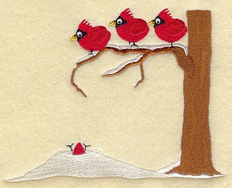 Cardinals on Branch with Snowpile - Embroidered Linen Kitchen Towel with YOUR CHOICE of Colored Border - EmbroideredbySue