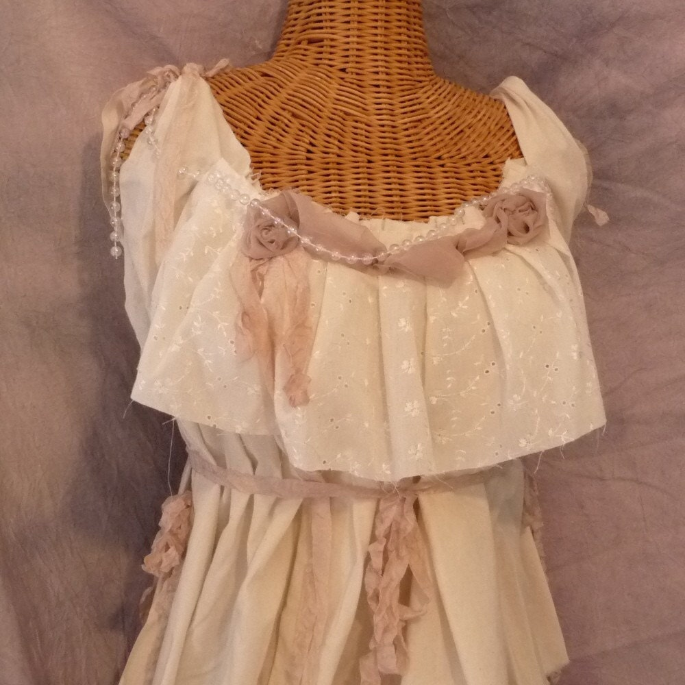 Paris Dewdrop Ruffle Top Blouse Ready To Wear Size Medium to Large Ivory Mauve Pink Bow eco Cotton Juniors Womens