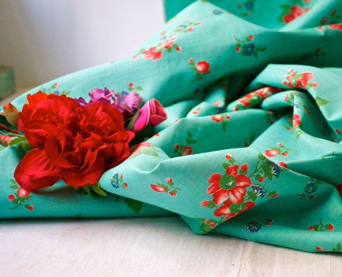 1940s Turquoise Vintage Floral Dress Fabric Semi Sheer Cotton - BlueZinniaVintage